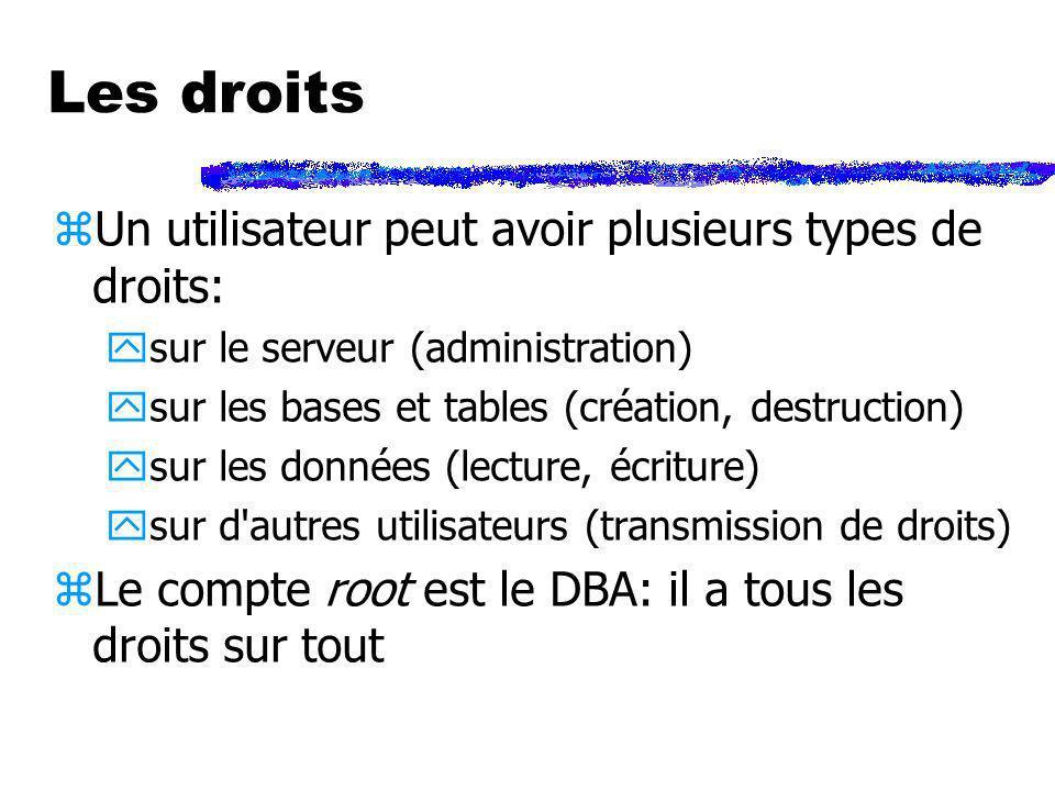 Les droits zUn utilisateur peut avoir plusieurs types de droits: ysur le serveur (administration) ysur les bases et tables (création, destruction) ysu