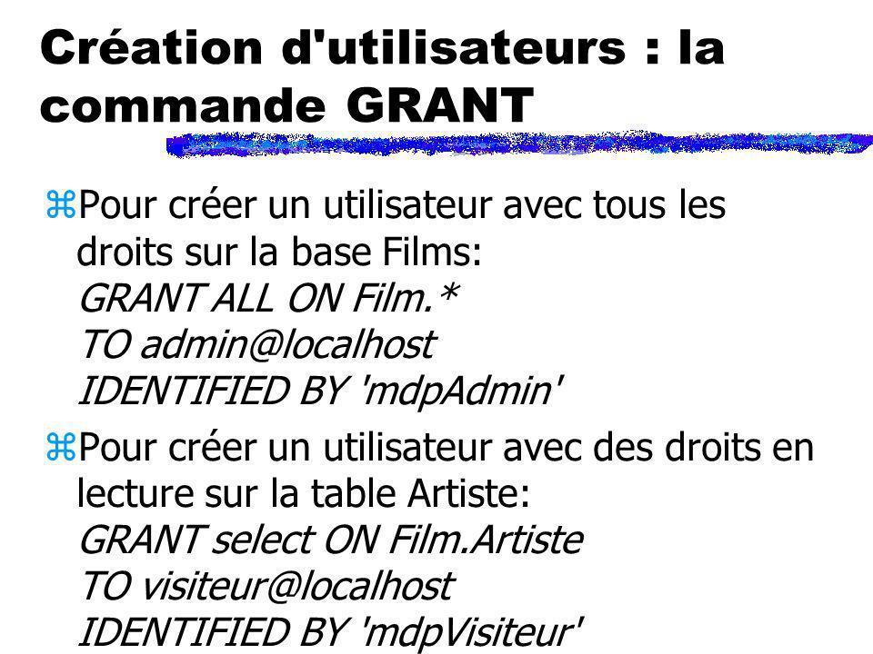 Création d'utilisateurs : la commande GRANT zPour créer un utilisateur avec tous les droits sur la base Films: GRANT ALL ON Film.* TO admin@localhost