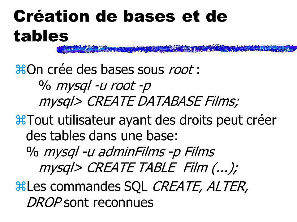 Création de bases et de tables zOn crée des bases sous root : % mysql -u root -p mysql> CREATE DATABASE Films; zTout utilisateur ayant des droits peut