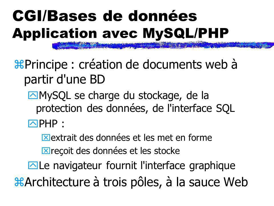 CGI/Bases de données Application avec MySQL/PHP zPrincipe : création de documents web à partir d'une BD yMySQL se charge du stockage, de la protection