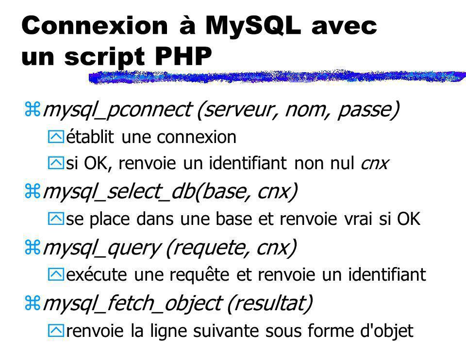 Connexion à MySQL avec un script PHP zmysql_pconnect (serveur, nom, passe) yétablit une connexion ysi OK, renvoie un identifiant non nul cnx zmysql_se