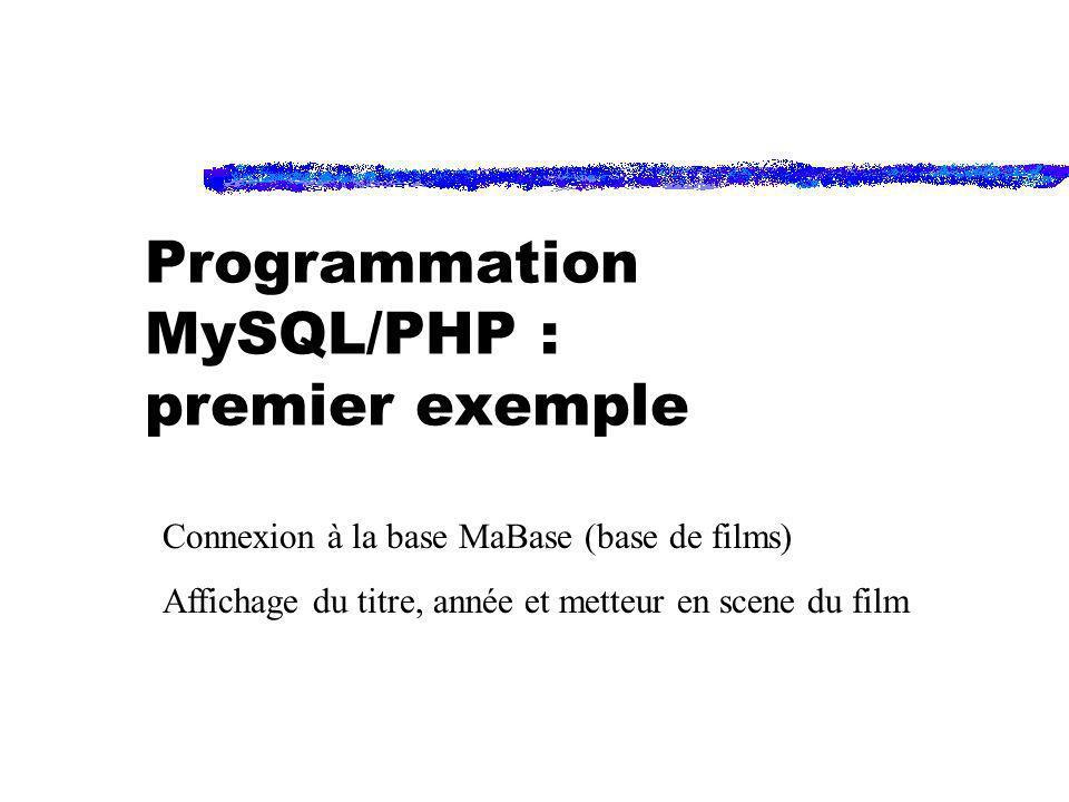 Programmation MySQL/PHP : premier exemple Connexion à la base MaBase (base de films) Affichage du titre, année et metteur en scene du film