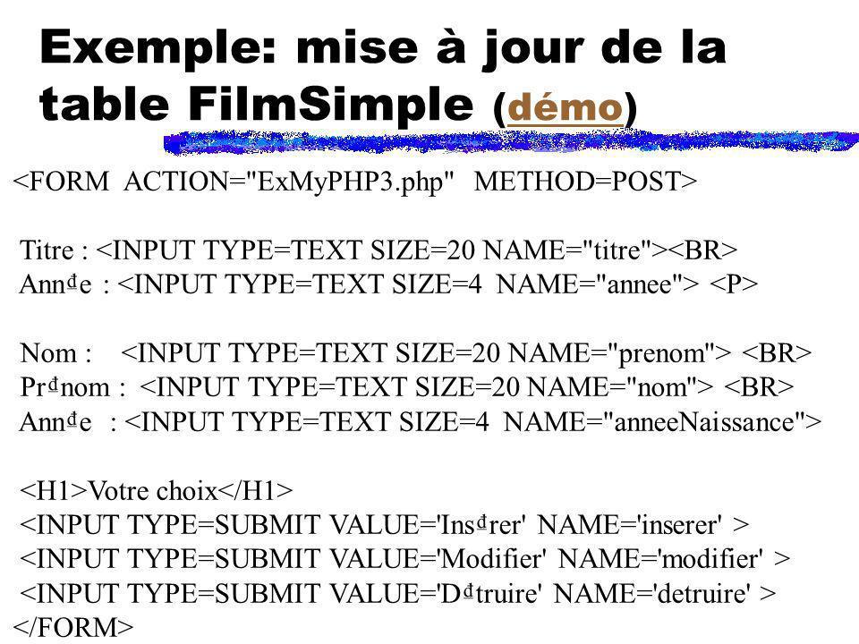 Exemple: mise à jour de la table FilmSimple (démo)démo Titre : Anne : Nom : Prnom : Anne : Votre choix
