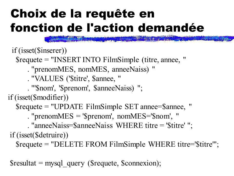 Choix de la requête en fonction de l'action demandée if (isset($inserer)) $requete =