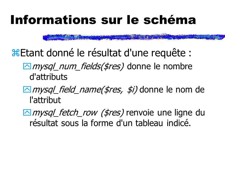 Informations sur le schéma zEtant donné le résultat d'une requête : ymysql_num_fields($res) donne le nombre d'attributs ymysql_field_name($res, $i) do