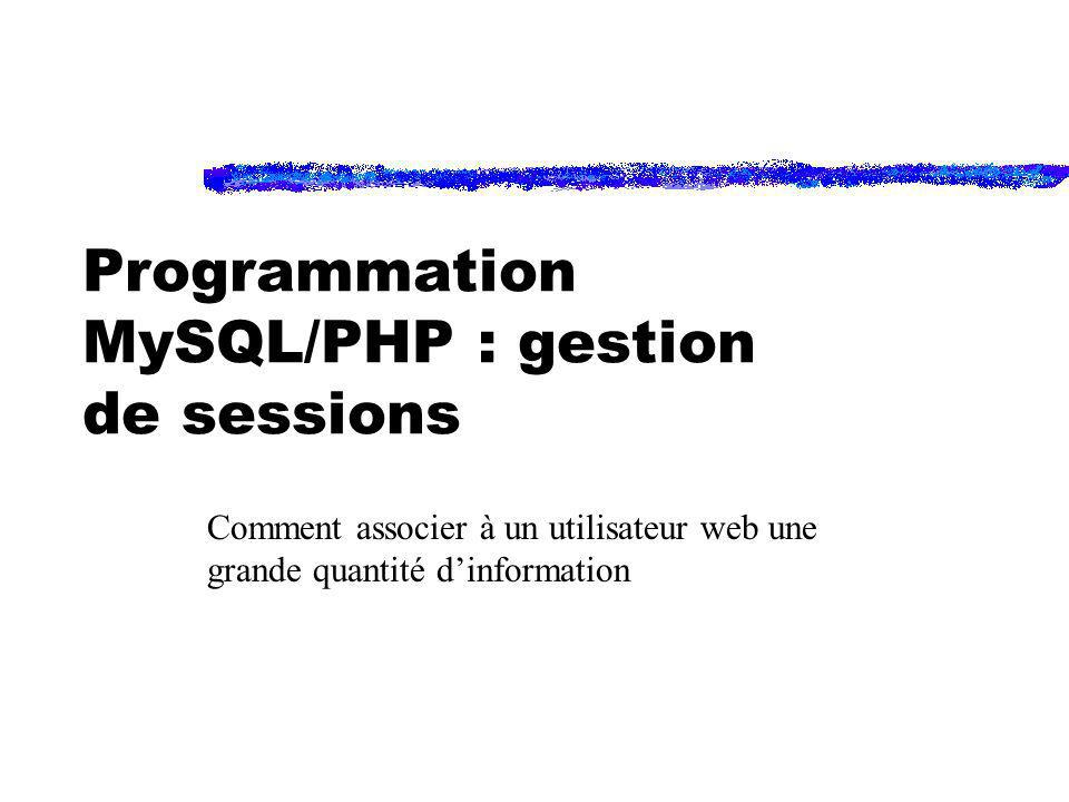 Programmation MySQL/PHP : gestion de sessions Comment associer à un utilisateur web une grande quantité dinformation