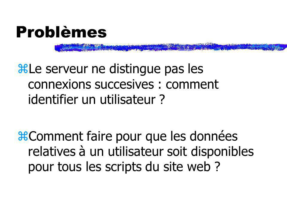 Problèmes zLe serveur ne distingue pas les connexions succesives : comment identifier un utilisateur ? zComment faire pour que les données relatives à