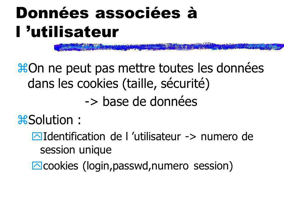 Données associées à l utilisateur zOn ne peut pas mettre toutes les données dans les cookies (taille, sécurité) -> base de données zSolution : yIdenti