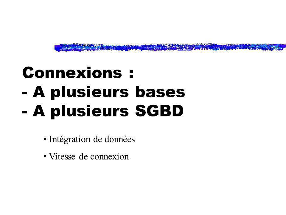 Connexions : - A plusieurs bases - A plusieurs SGBD Intégration de données Vitesse de connexion