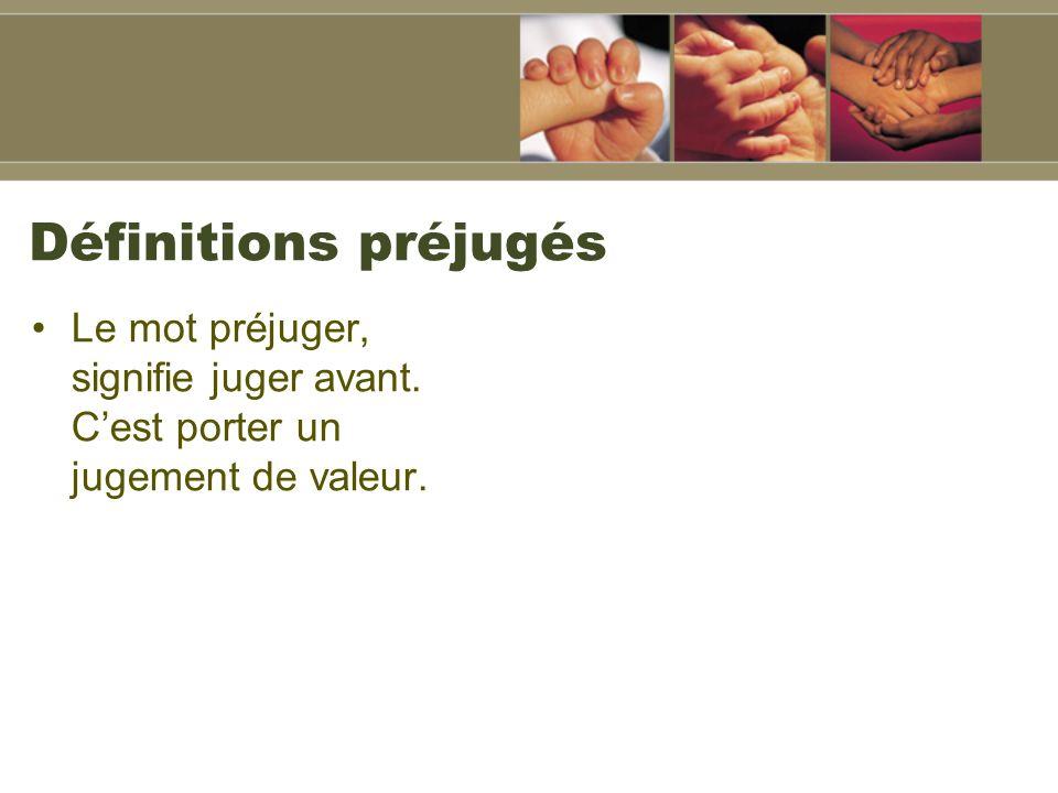 Définitions préjugés Le mot préjuger, signifie juger avant. Cest porter un jugement de valeur.