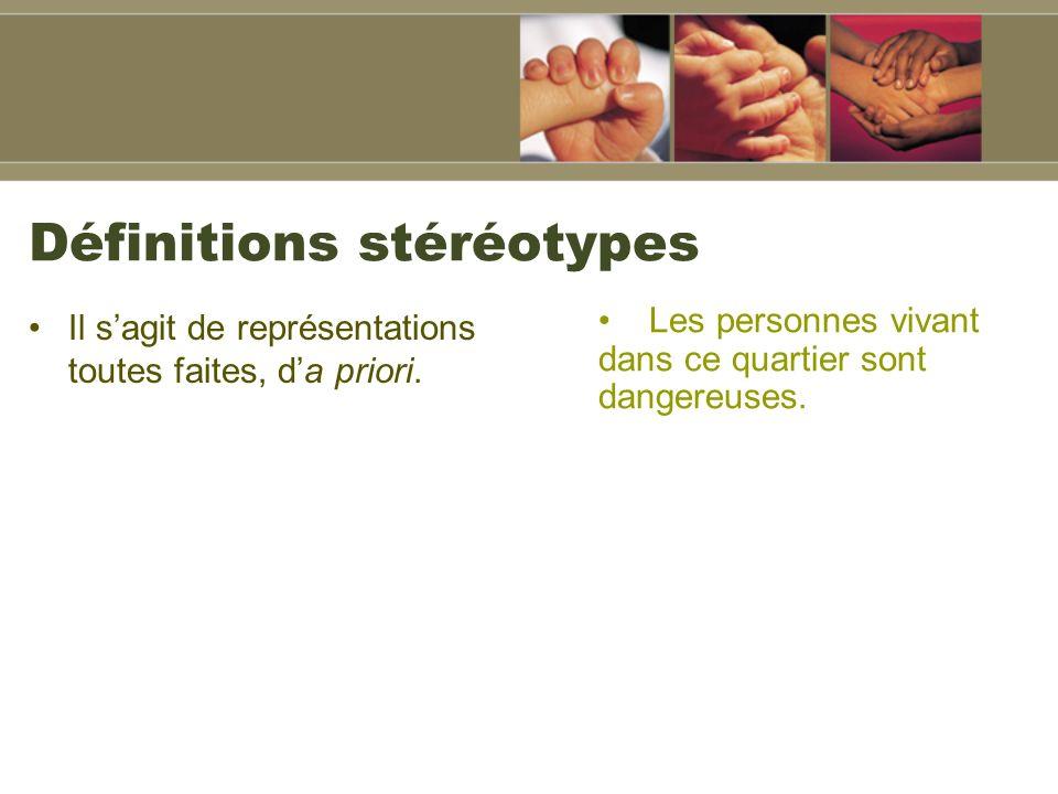 Définitions stéréotypes Il sagit de représentations toutes faites, da priori.
