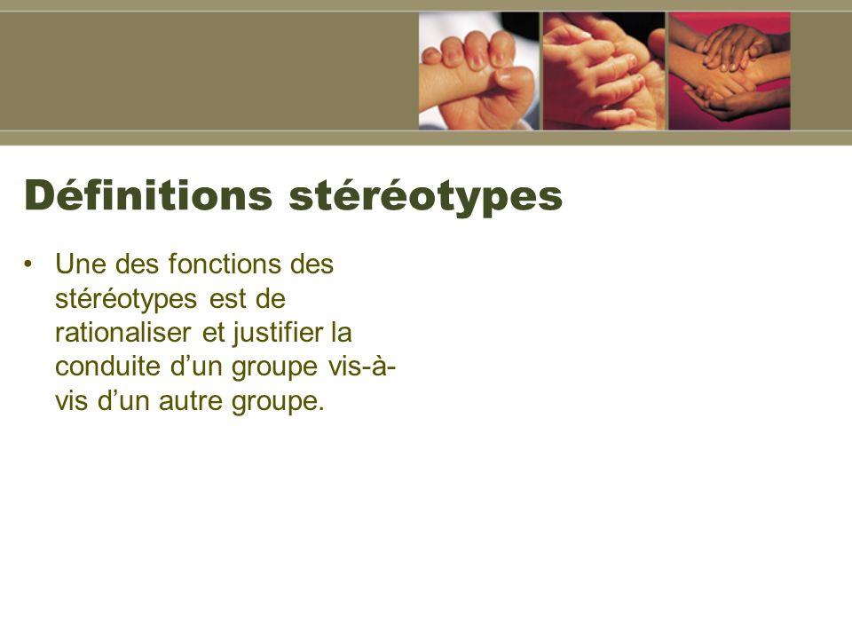 Définitions stéréotypes Une des fonctions des stéréotypes est de rationaliser et justifier la conduite dun groupe vis-à- vis dun autre groupe.