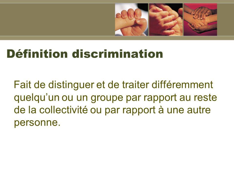 Définition discrimination Fait de distinguer et de traiter différemment quelquun ou un groupe par rapport au reste de la collectivité ou par rapport à une autre personne.