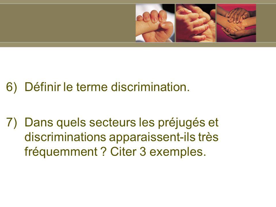 6)Définir le terme discrimination.