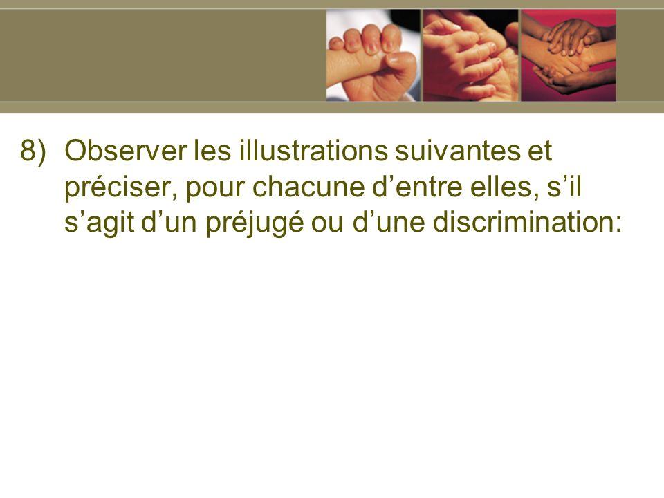 8)Observer les illustrations suivantes et préciser, pour chacune dentre elles, sil sagit dun préjugé ou dune discrimination: