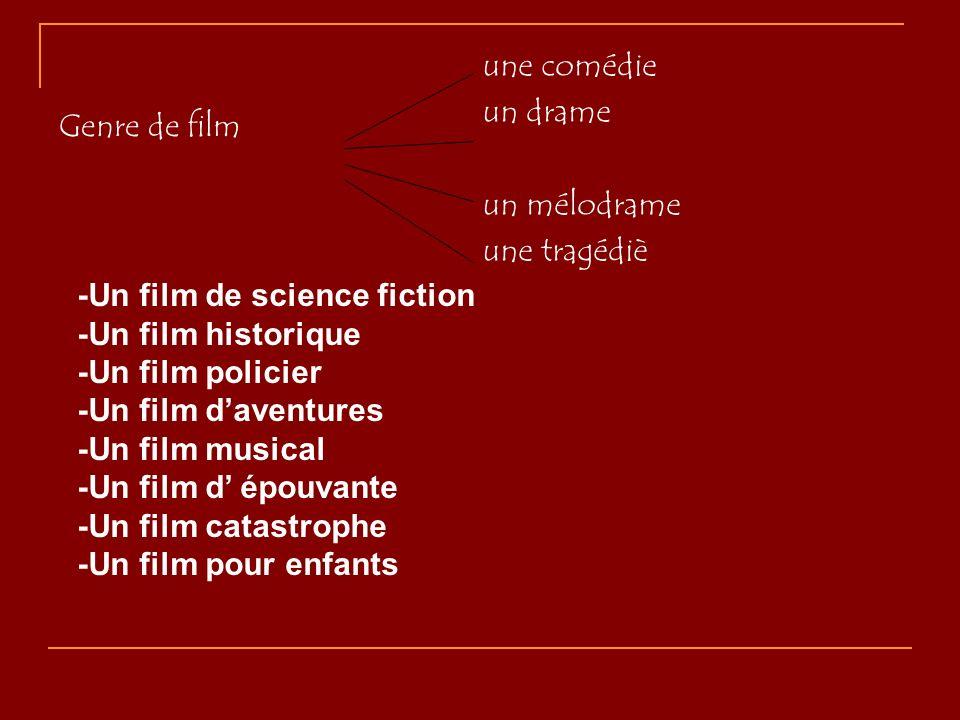 Genre de film une comédie un drame un mélodrame une tragédiè -Un film de science fiction -Un film historique -Un film policier -Un film daventures -Un