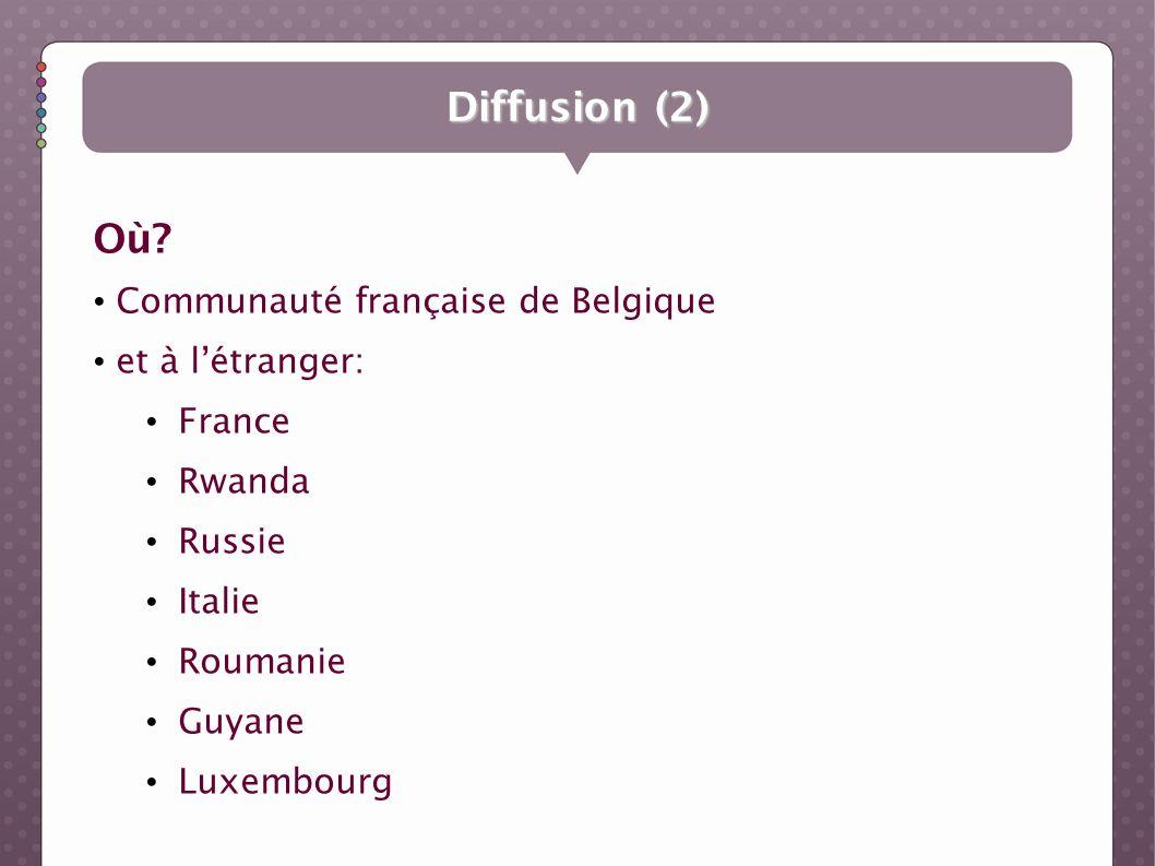 Diffusion (2) Où? Communauté française de Belgique et à létranger: France Rwanda Russie Italie Roumanie Guyane Luxembourg