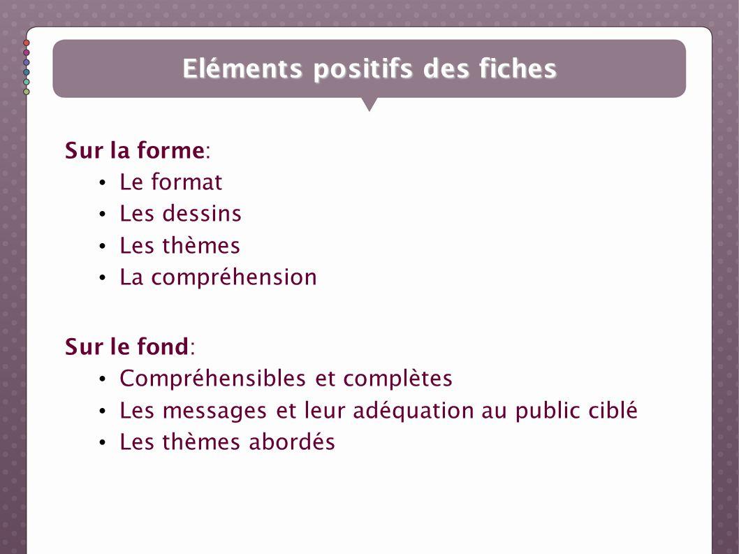 Eléments positifs des fiches Sur la forme: Le format Les dessins Les thèmes La compréhension Sur le fond: Compréhensibles et complètes Les messages et