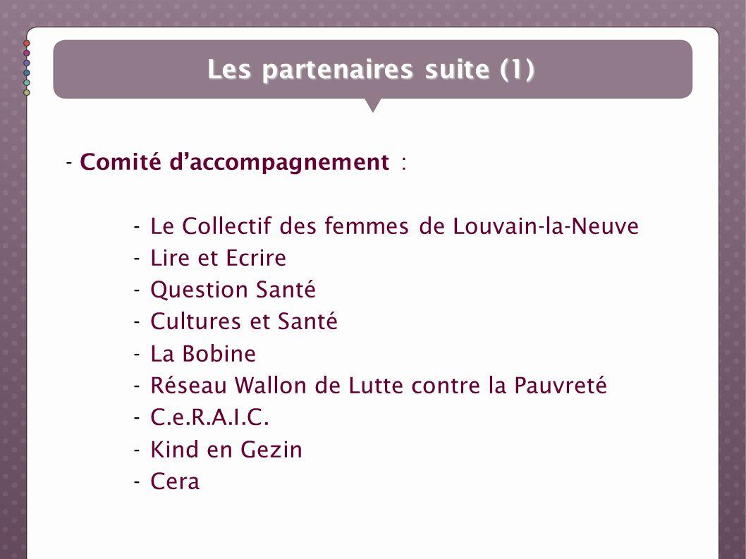 - Comité daccompagnement : -Le Collectif des femmes de Louvain-la-Neuve -Lire et Ecrire -Question Santé -Cultures et Santé -La Bobine -Réseau Wallon d
