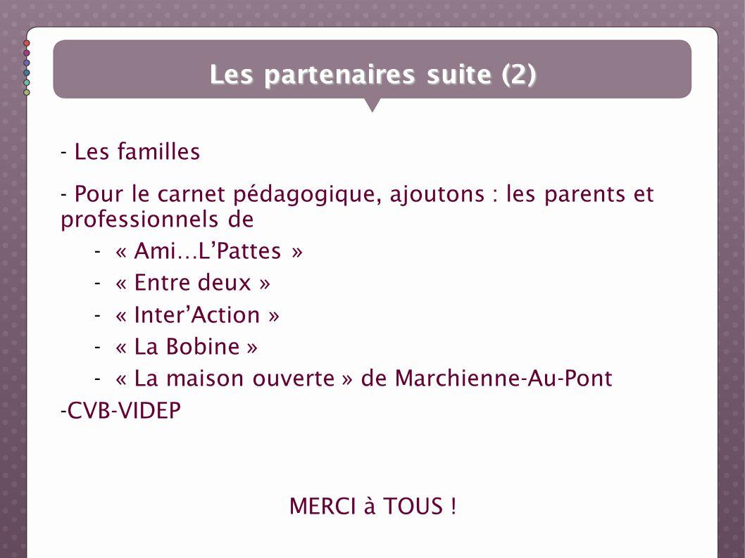 - Les familles - Pour le carnet pédagogique, ajoutons : les parents et professionnels de -« Ami…LPattes » -« Entre deux » -« InterAction » -« La Bobin