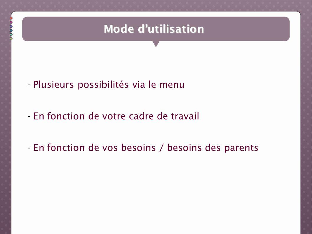 Mode dutilisation - Plusieurs possibilités via le menu - En fonction de votre cadre de travail - En fonction de vos besoins / besoins des parents
