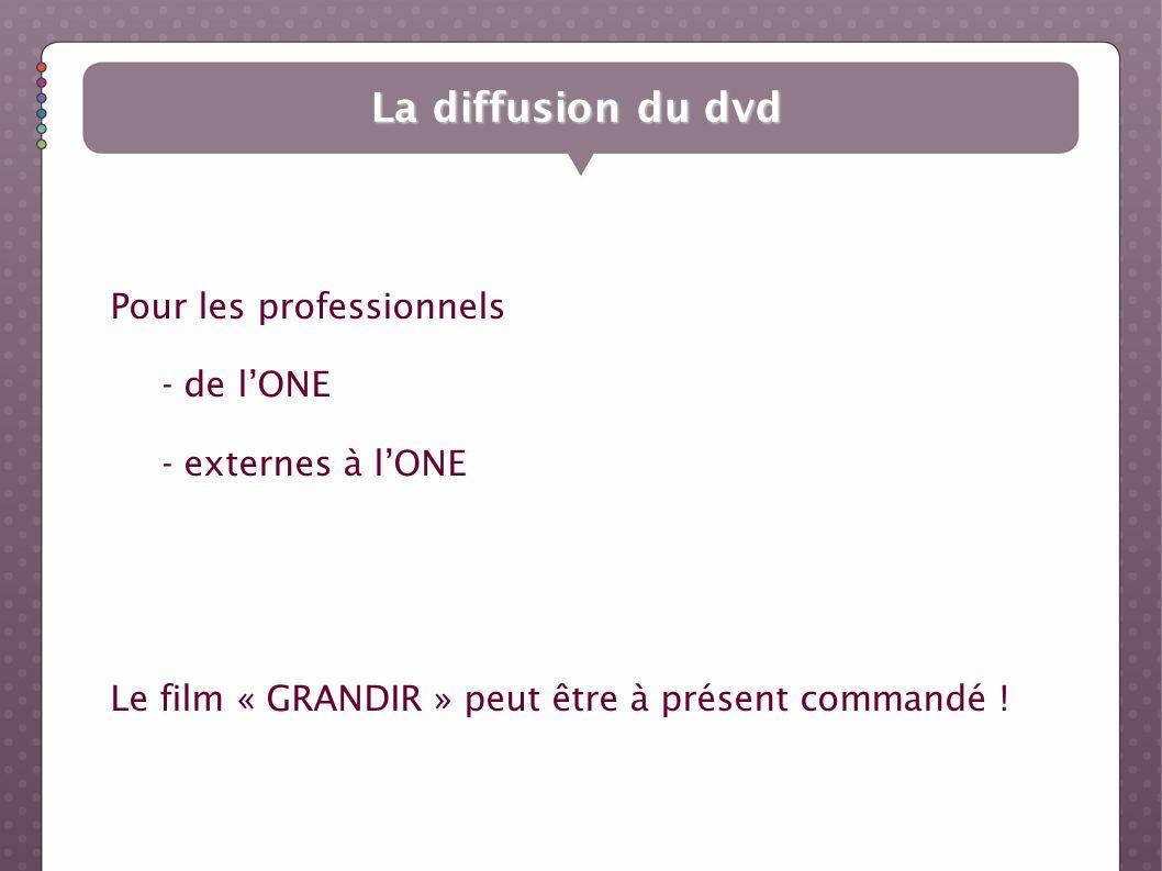 La diffusion du dvd Pour les professionnels - de lONE - externes à lONE Le film « GRANDIR » peut être à présent commandé !