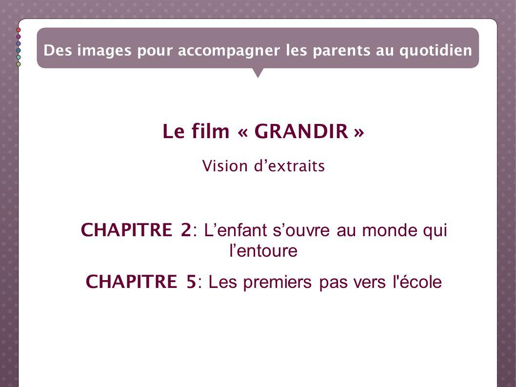 Le film « GRANDIR » Vision dextraits CHAPITRE 2: Lenfant souvre au monde qui lentoure CHAPITRE 5: Les premiers pas vers l'école Des images pour accomp