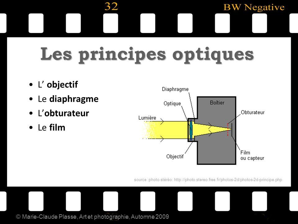 © Marie-Claude Plasse, Art et photographie, Automne 2009 Les principes optiques L objectif Le diaphragme Lobturateur Le film source :photo stéréo: htt