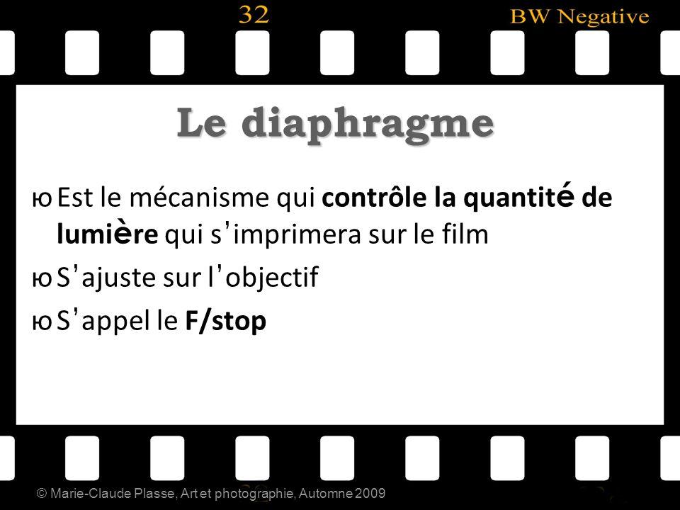 © Marie-Claude Plasse, Art et photographie, Automne 2009 Le diaphragme юEst le mécanisme qui contrôle la quantit é de lumi è re qui s imprimera sur le