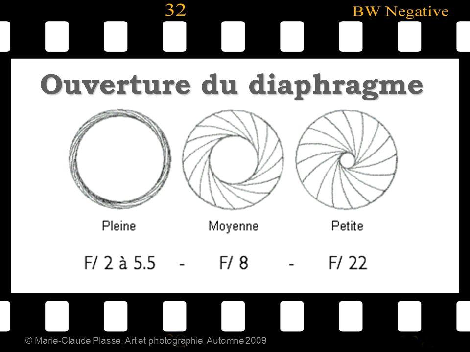 © Marie-Claude Plasse, Art et photographie, Automne 2009 Ouverture du diaphragme