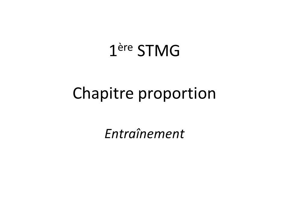 1 ère STMG Chapitre proportion Entraînement