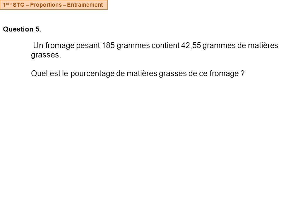 Question 5.Un fromage pesant 185 grammes contient 42,55 grammes de matières grasses.