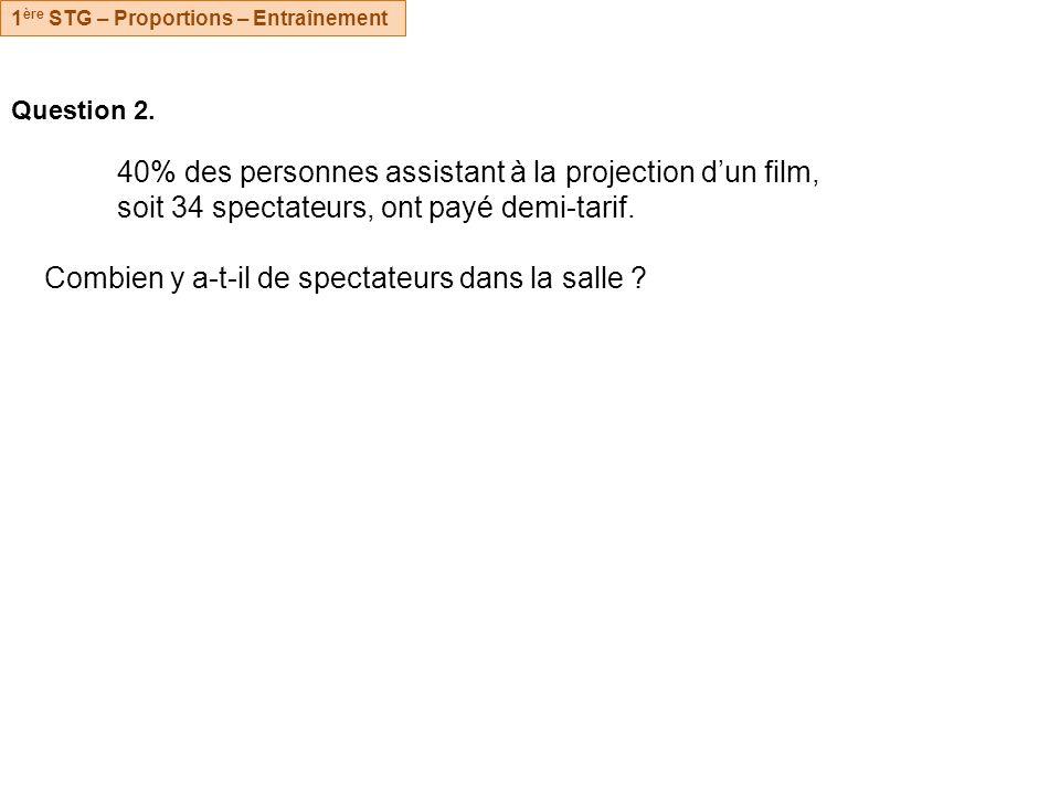 Question 2. 40% des personnes assistant à la projection dun film, soit 34 spectateurs, ont payé demi-tarif. Combien y a-t-il de spectateurs dans la sa