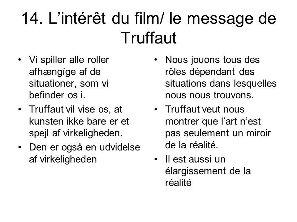 14. Lintérêt du film/ le message de Truffaut Vi spiller alle roller afhængíge af de situationer, som vi befinder os i. Truffaut vil vise os, at kunste