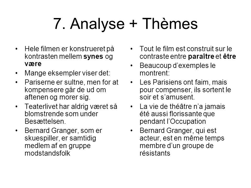 7. Analyse + Thèmes Hele filmen er konstrueret på kontrasten mellem synes og være Mange eksempler viser det: Pariserne er sultne, men for at kompenser
