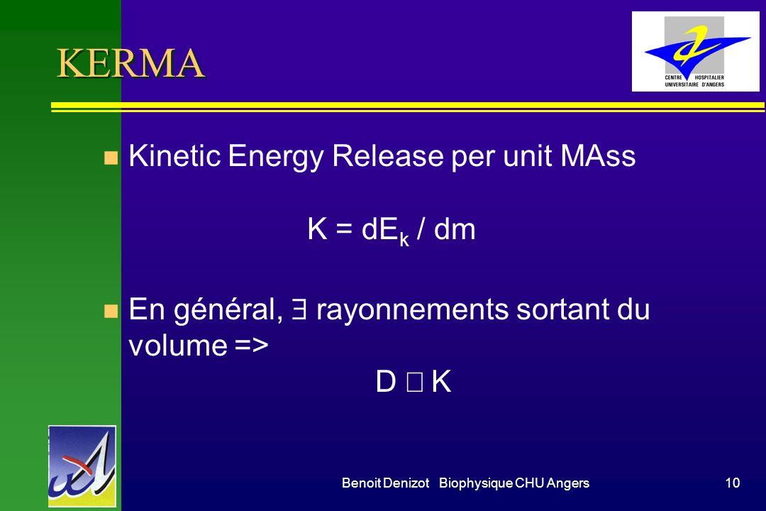 Benoit Denizot Biophysique CHU Angers9 Dose transférée n Interaction photon - matière –photons II –mvt électronique < photoélectrons < Compton E cinét