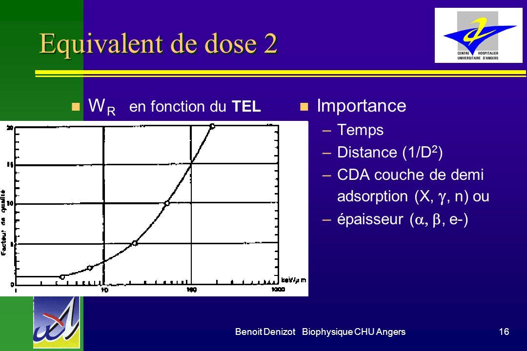 Benoit Denizot Biophysique CHU Angers15 Equivalent de dose n W R facteur de pondération –h 1 –n 205 –p5 –, fission, lourds 20 n H équivalent de dose e