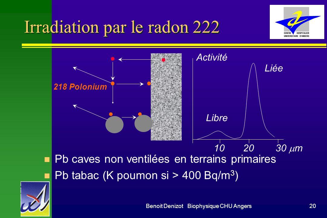 Benoit Denizot Biophysique CHU Angers19 Irradiation externe naturelle en France en mSv / an Province du Kerala (Decan, Inde) 8 mSv / an Brésil 12 à 13