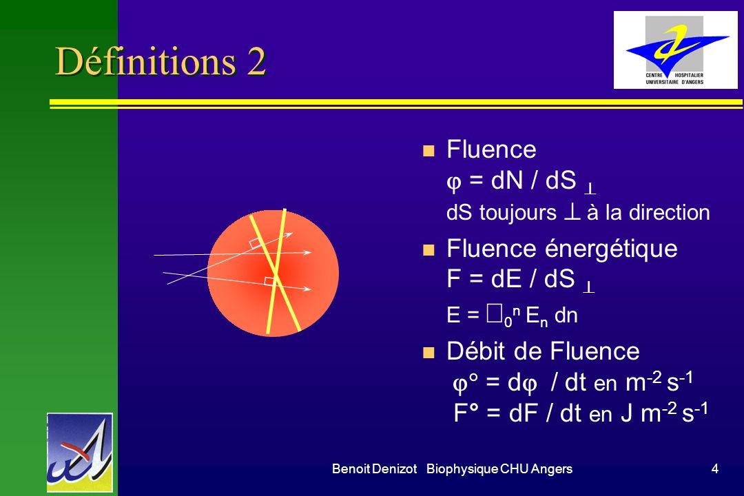 Benoit Denizot Biophysique CHU Angers4 Définitions 2 Fluence = dN / dS dS toujours à la direction Fluence énergétique F = dE / dS E = 0 n E n dn Débit de Fluence = d / dt en m -2 s -1 F° = dF / dt en J m -2 s -1
