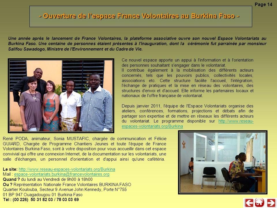 Une année après le lancement de France Volontaires, la plateforme associative ouvre son nouvel Espace Volontariats au Burkina Faso. Une centaine de pe