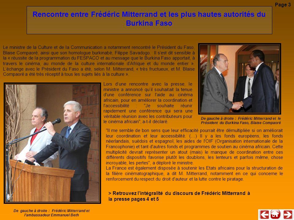 Rencontre entre Frédéric Mitterrand et les plus hautes autorités du Burkina Faso