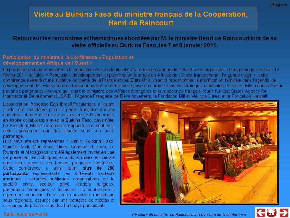 Participation du ministre à la Conférence « Population et développement en Afrique de lOuest » La première réunion consacrée à la population et à la p