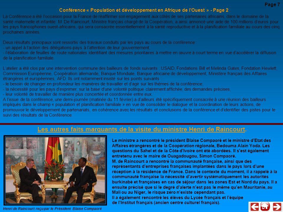 Conférence « Population et développement en Afrique de lOuest » - Page 2 La Conférence a été loccasion pour la France de réaffirmer son engagement aux