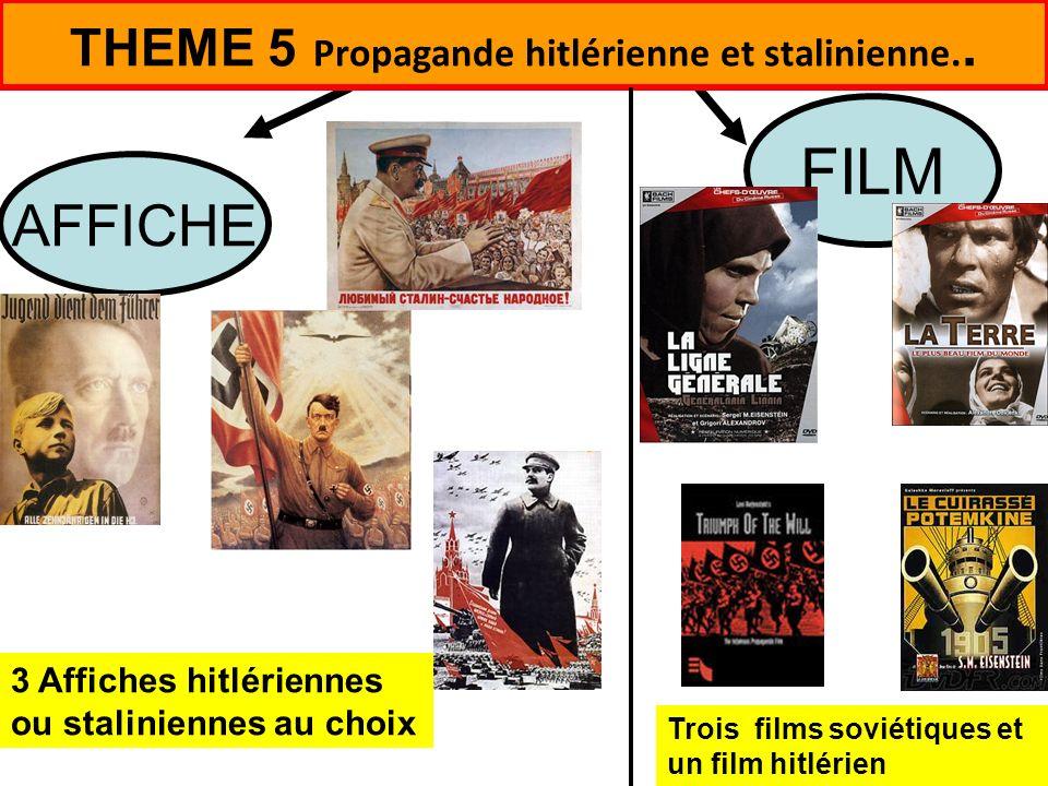 Trois films soviétiques et un film hitlérien 3 Affiches hitlériennes ou staliniennes au choix THEME 5 Propagande hitlérienne et stalinienne.. FILM AFF