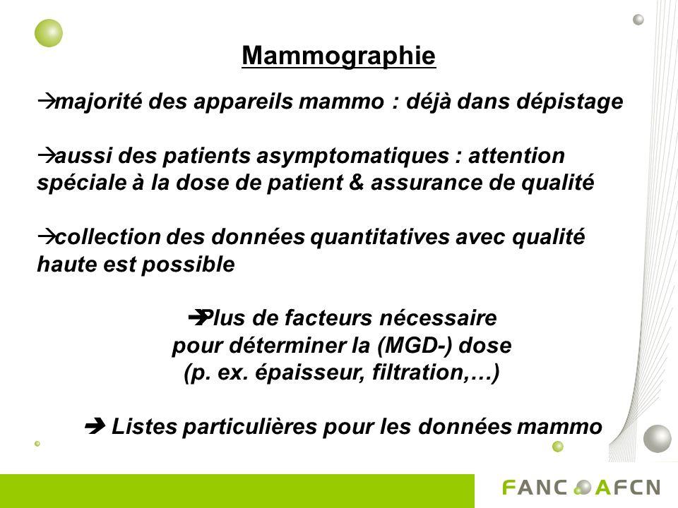 Mammographie majorité des appareils mammo : déjà dans dépistage aussi des patients asymptomatiques : attention spéciale à la dose de patient & assurance de qualité collection des données quantitatives avec qualité haute est possible Plus de facteurs nécessaire pour déterminer la (MGD-) dose (p.