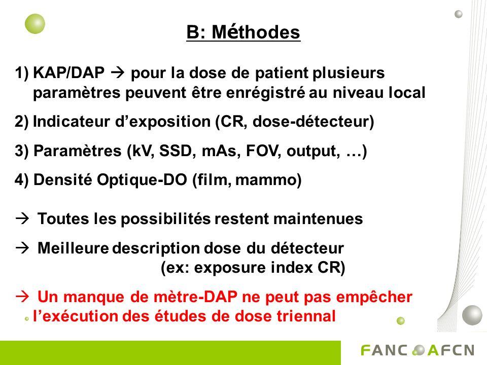 B: M é thodes 1)KAP/DAP pour la dose de patient plusieurs paramètres peuvent être enrégistré au niveau local 2)Indicateur dexposition (CR, dose-détecteur) 3) Paramètres (kV, SSD, mAs, FOV, output, …) 4) Densité Optique-DO (film, mammo) Toutes les possibilités restent maintenues Meilleure description dose du détecteur (ex: exposure index CR) Un manque de mètre-DAP ne peut pas empêcher lexécution des études de dose triennal