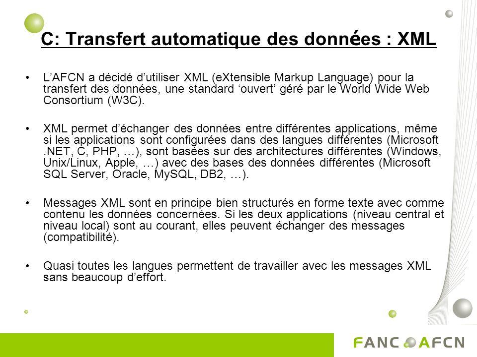 C: Transfert automatique des donn é es : XML LAFCN a décidé dutiliser XML (eXtensible Markup Language) pour la transfert des données, une standard ouvert géré par le World Wide Web Consortium (W3C).