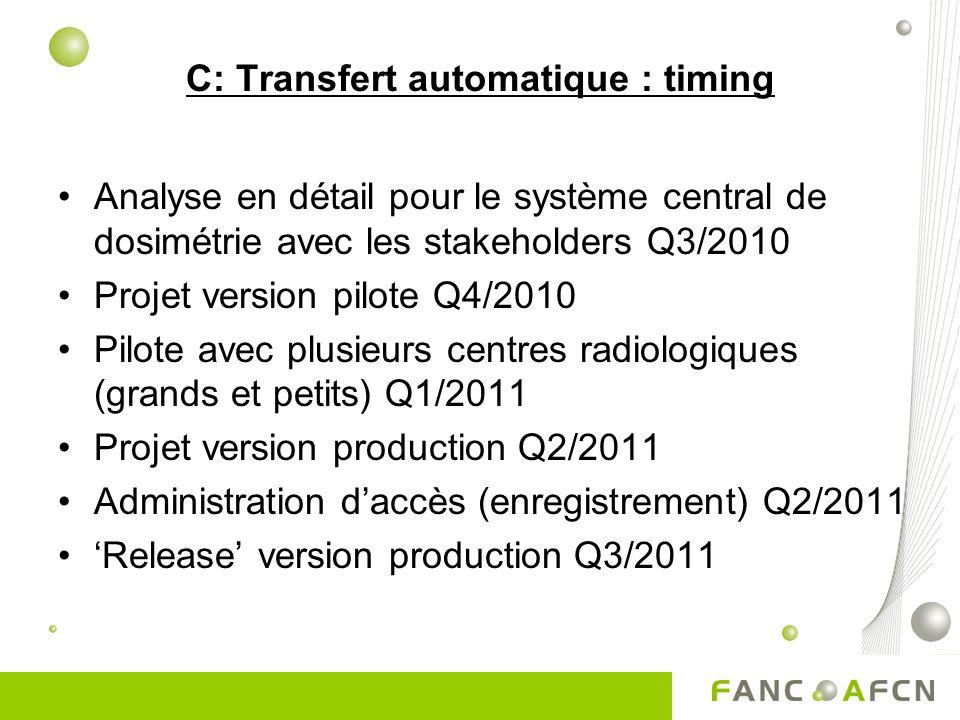 C: Transfert automatique : timing Analyse en détail pour le système central de dosimétrie avec les stakeholders Q3/2010 Projet version pilote Q4/2010 Pilote avec plusieurs centres radiologiques (grands et petits) Q1/2011 Projet version production Q2/2011 Administration daccès (enregistrement) Q2/2011 Release version production Q3/2011