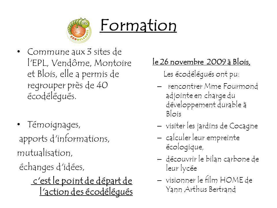 Formation Commune aux 3 sites de l'EPL, Vendôme, Montoire et Blois, elle a permis de regrouper près de 40 écodélégués. Témoignages, apports d'informat