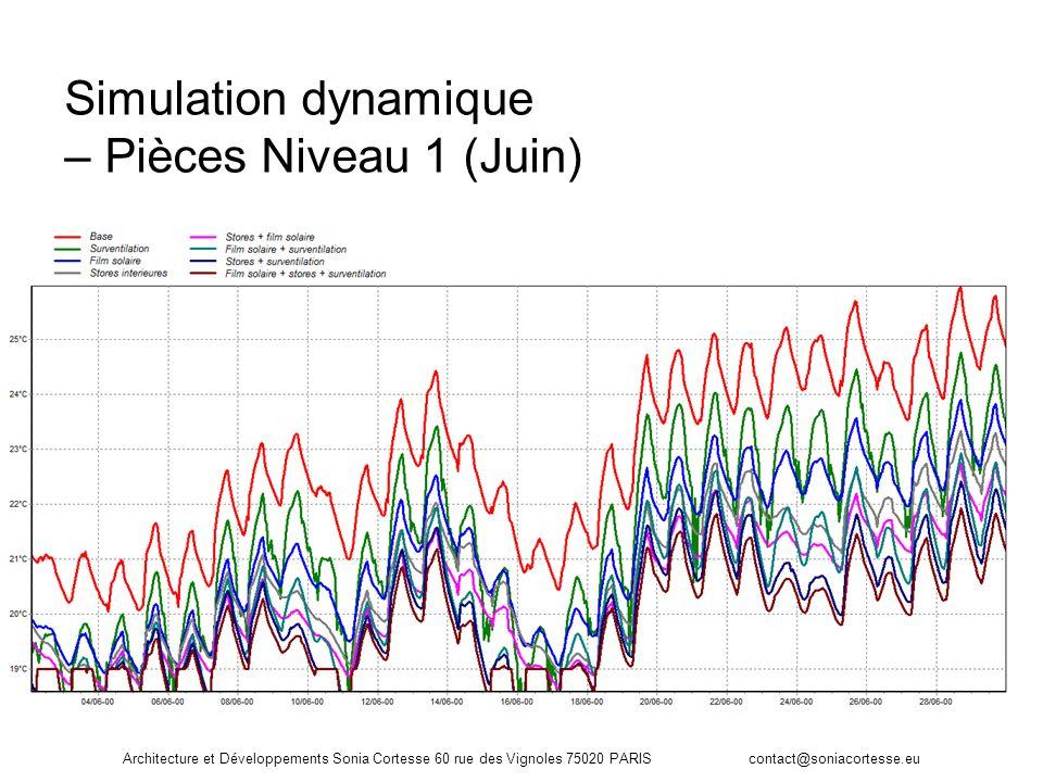Architecture et Développements Sonia Cortesse 60 rue des Vignoles 75020 PARIS contact@soniacortesse.eu Simulation dynamique – Pièces Niveau 1 (Juin)